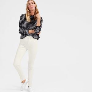 Everlane, High Rise Skinny Jeans, White, 24